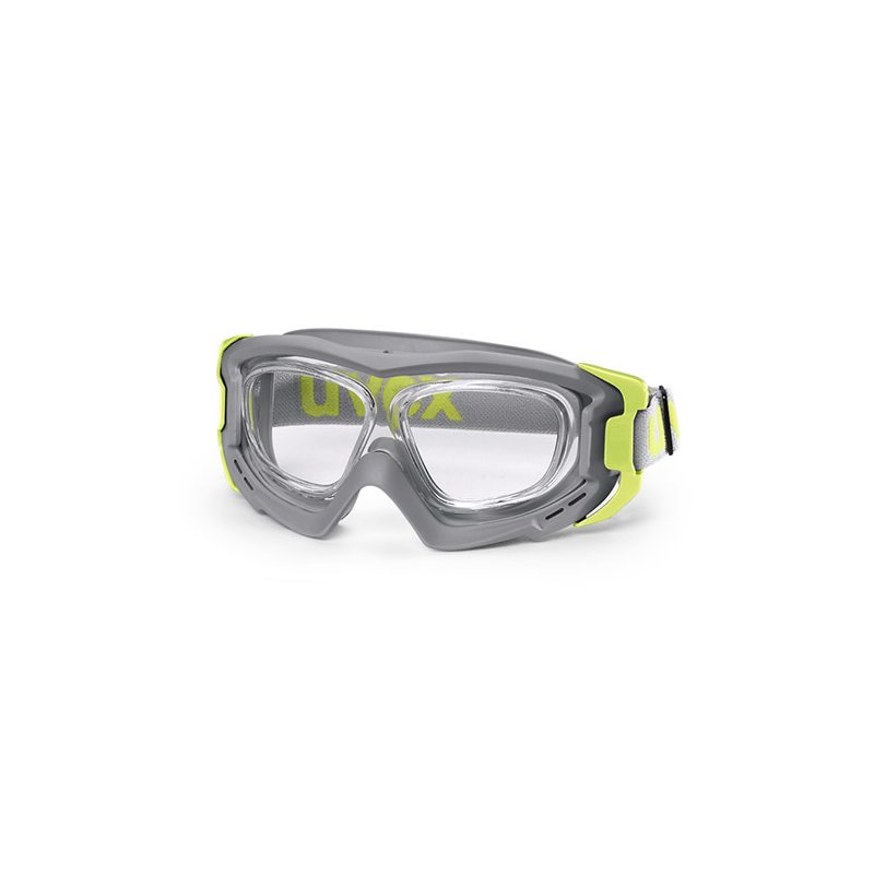 uvex rx goggle vollsichtbrille hellgrau lime schutzbrille mit sehst. Black Bedroom Furniture Sets. Home Design Ideas